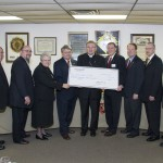 2009 - 50th anniversary donation of $185,000, surpassing $5,000,000 total donated.  Pictured left to right are Bishop's Project Spiritual director Rev. Benedetto P. Vaghetto, JCL, PA State Advocate Mark B. Peduto, Sister Mary Thaddeus Markelwicz CSSF, Executive Director of McGuire Memorial Home, PA State Deputy Wayne S. Freet, Bishop David A. Zubic, Bishop's Project chairman Joseph S. Yourish, Jr., Supreme Director Michael J. O'Connor, PA State Master Duane C. Smith, and Mark Sieg, Executive Director of Saint Anthony School Programs  (Obtained/provided by Geoff Crowe Photography)