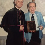 """Bishop Donald Wuerl and Pat C. Boccardi, the original """"Mr. Tootsie Roll"""" (Photo courtesy of Don Boccardi)"""